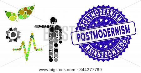 Mosaic object analysis icon and distressed stamp seal with Postmodernism caption. Mosaic vector is created with object analysis icon and with scattered spheric elements. poster