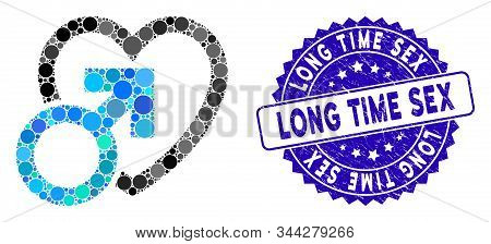 Mosaic Male Love Icon And Corroded Stamp Seal With Long Time Sex Text. Mosaic Vector Is Composed Wit