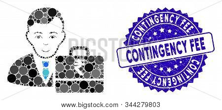 Mosaic Rupee Accounter Icon And Rubber Stamp Watermark With Contingency Fee Caption. Mosaic Vector I