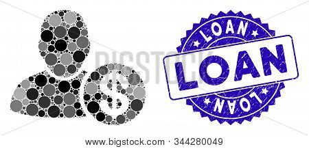 Mosaic Loan User Icon And Corroded Stamp Watermark With Loan Phrase. Mosaic Vector Is Formed With Lo