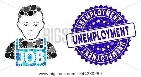 Mosaic Jobless Icon And Corroded Stamp Watermark With Unemployment Caption. Mosaic Vector Is Designe