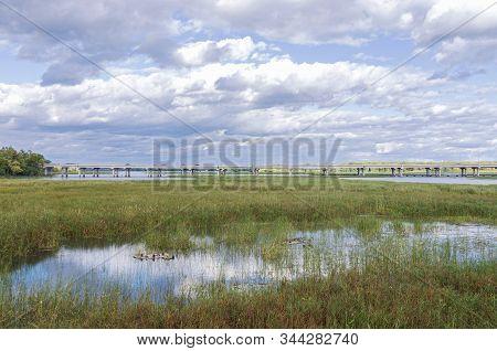 Highway 77 Spanning Long Meadow Lake Of Minnesota Valley National Wildlife Refuge In Bloomington Min