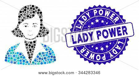 Mosaic Lady Icon And Distressed Stamp Seal With Lady Power Caption. Mosaic Vector Is Formed With Lad