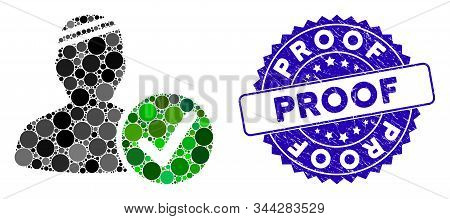 Collage Patient Valid Icon And Corroded Stamp Seal With Proof Caption. Mosaic Vector Is Composed Wit