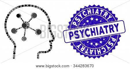 Mosaic Head Brain Icon And Grunge Stamp Seal With Psychiatry Caption. Mosaic Vector Is Created With