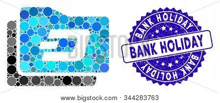 Mosaic Dash Purse Icon And Corroded Stamp Seal With Bank Holiday Phrase. Mosaic Vector Is Designed W