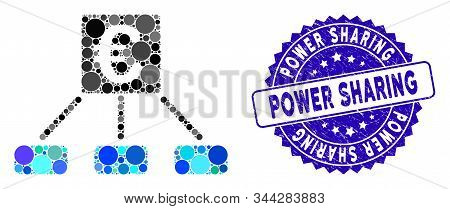 Mosaic Euro Distribution Links Icon And Grunge Stamp Seal With Power Sharing Caption. Mosaic Vector