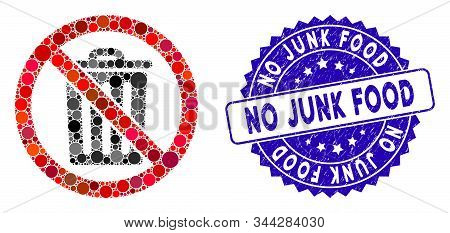 Mosaic No Dustbin Icon And Corroded Stamp Watermark With No Junk Food Text. Mosaic Vector Is Created