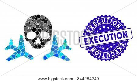Mosaic Mortal Airplanes Icon And Corroded Stamp Seal With Execution Phrase. Mosaic Vector Is Designe