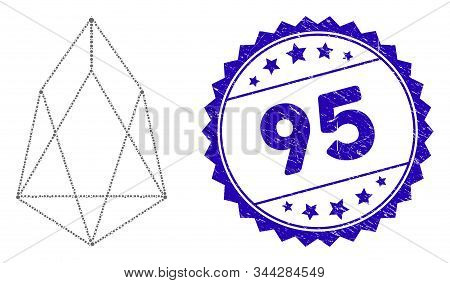 Mosaic Eos Currency Icon And Corroded Stamp Seal With 95 Caption. Mosaic Vector Is Created With Eos