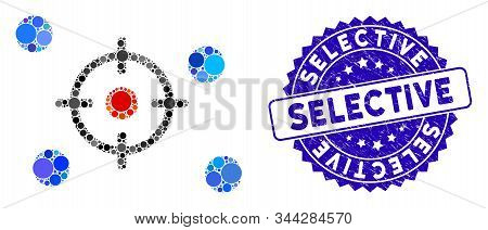 Mosaic Selective Icon And Rubber Stamp Seal With Selective Text. Mosaic Vector Is Formed With Select