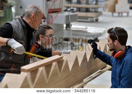Carpenter with apprentice working in workshop