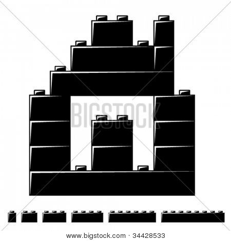 vector children plastic bricks toy house silhouette