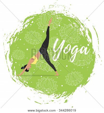 Hatha Yoga Training Vector Illustration In Flat Style. Young Attractive Girl In Sportswear Practicin
