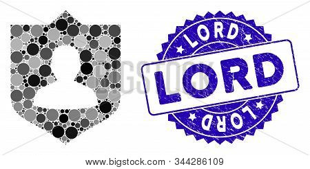 Mosaic Lord Shield Icon And Distressed Stamp Seal With Lord Phrase. Mosaic Vector Is Designed From L