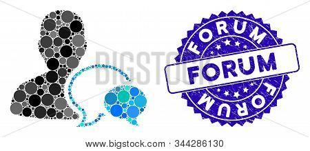 Mosaic Forum Moderator Icon And Rubber Stamp Seal With Forum Text. Mosaic Vector Is Formed With Foru