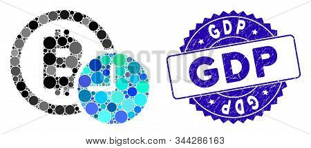 Mosaic Bitcoin Credit Clock Icon And Rubber Stamp Seal With Gdp Caption. Mosaic Vector Is Created Wi