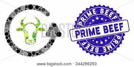 Mosaic Refresh Bull Icon And Grunge Stamp Seal With Prime Beef Caption. Mosaic Vector Is Designed Wi