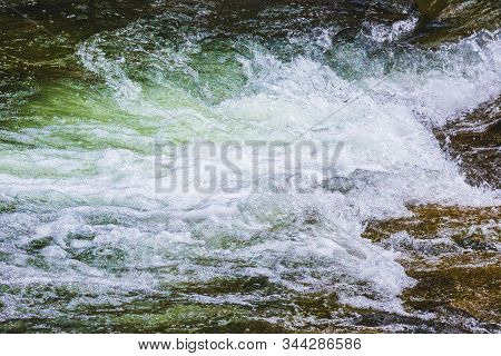 White Foamy Waves Of Mountain River, Water Texture
