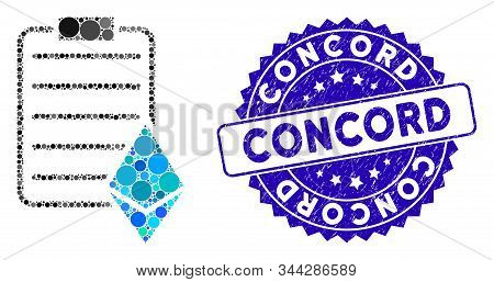 Collage Ethereum Contract Icon And Distressed Stamp Seal With Concord Phrase. Mosaic Vector Is Compo