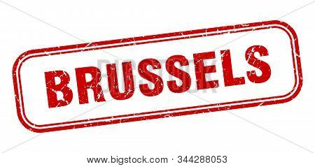 Brussels Stamp. Brussels Red Grunge Isolated Sign