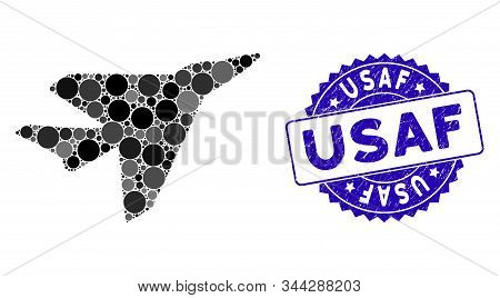 Mosaic Intercepter Icon And Grunge Stamp Seal With Usaf Caption. Mosaic Vector Is Designed With Inte