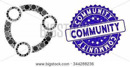 Mosaic Community Icon And Rubber Stamp Seal With Community Caption. Mosaic Vector Is Composed From C