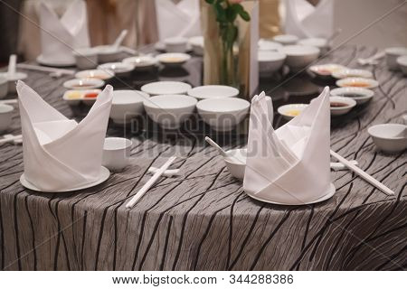 Vip Dining Table With Cutlery And Napkin Settings. Hotel Restaurant Venue, Food Catering Service Buf