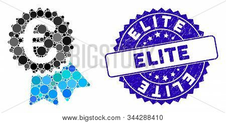Mosaic Euro Featured Price Tag Icon And Rubber Stamp Seal With Elite Caption. Mosaic Vector Is Creat