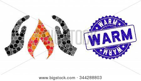Mosaic Warm Up Hands Icon And Corroded Stamp Seal With Warm Phrase. Mosaic Vector Is Created With Wa