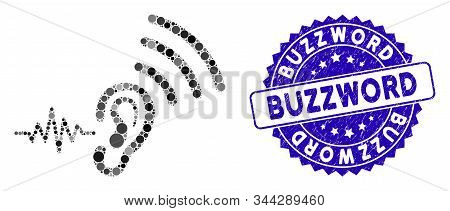 Collage Listen And Transmit Icon And Rubber Stamp Seal With Buzzword Text. Mosaic Vector Is Created