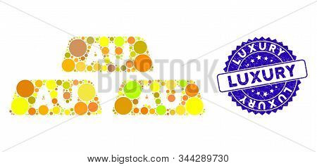 Mosaic Gold Bullions Icon And Distressed Stamp Seal With Luxury Text. Mosaic Vector Is Designed With