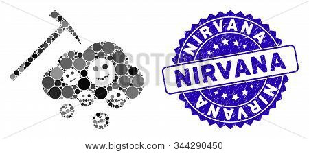 Mosaic Happy Cloud Mining Icon And Grunge Stamp Watermark With Nirvana Caption. Mosaic Vector Is Des