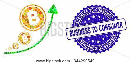 Mosaic Bitcoin Inflation Trend Icon And Grunge Stamp Seal With Business To Consumer Text. Mosaic Vec