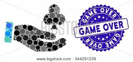 Mosaic Croupier Hand Icon And Grunge Stamp Watermark With Game Over Text. Mosaic Vector Is Created W