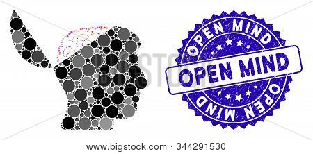 Mosaic Open Mind Icon And Grunge Stamp Watermark With Open Mind Caption. Mosaic Vector Is Formed Fro