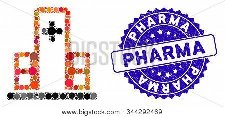 Mosaic Hospital Building Icon And Rubber Stamp Seal With Pharma Phrase. Mosaic Vector Is Created Wit