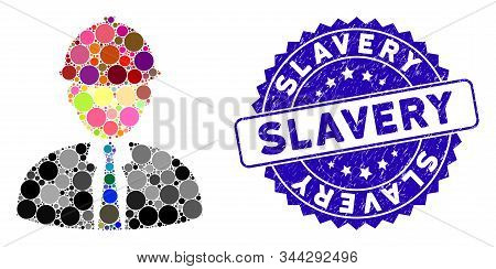 Mosaic Engineer Icon And Grunge Stamp Seal With Slavery Text. Mosaic Vector Is Formed With Engineer