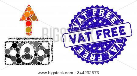 Mosaic Spend Money Icon And Rubber Stamp Seal With Vat Free Text. Mosaic Vector Is Created With Spen