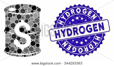 Mosaic Oil Barrel Price Icon And Corroded Stamp Seal With Hydrogen Text. Mosaic Vector Is Created Wi