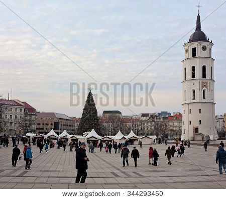 Vilnius, Lithuania - December 26, 2013: Day View Of The Ornate Christmas Tree, The Main Christmas Tr