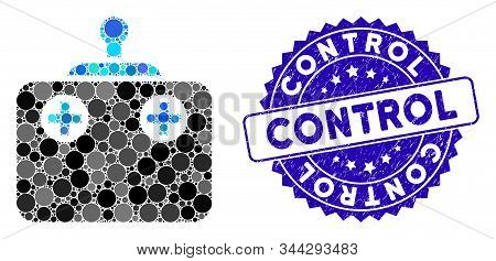 Mosaic Remote Control Icon And Distressed Stamp Seal With Control Caption. Mosaic Vector Is Designed