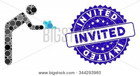 Mosaic Servant Person Icon And Distressed Stamp Seal With Invited Caption. Mosaic Vector Is Designed