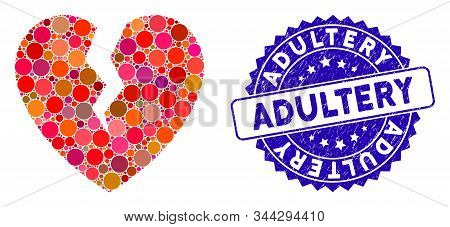 Mosaic Broken Heart Icon And Rubber Stamp Seal With Adultery Text. Mosaic Vector Is Designed With Br