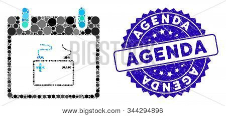 Mosaic Accumulator Calendar Day Icon And Distressed Stamp Seal With Agenda Phrase. Mosaic Vector Is