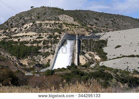 Kouris Dam, Cyprus Overflowing After The Heavy Winter Rains