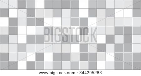 Tile Background. Abstract Block Pattern. Brick Texture. Square Tiles. White, Grey Colors. Flat Gray
