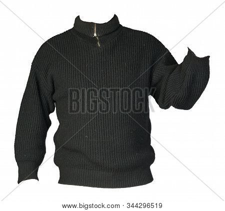 Knitted Black Sweater With A Zipper Isolated On A White Background. Mens Sweater Under The Neck . Ca