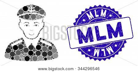 Mosaic Captain Icon And Rubber Stamp Watermark With Mlm Caption. Mosaic Vector Is Formed From Captai