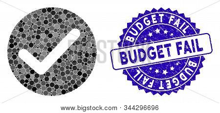 Mosaic Apply Icon And Rubber Stamp Watermark With Budget Fail Phrase. Mosaic Vector Is Designed With